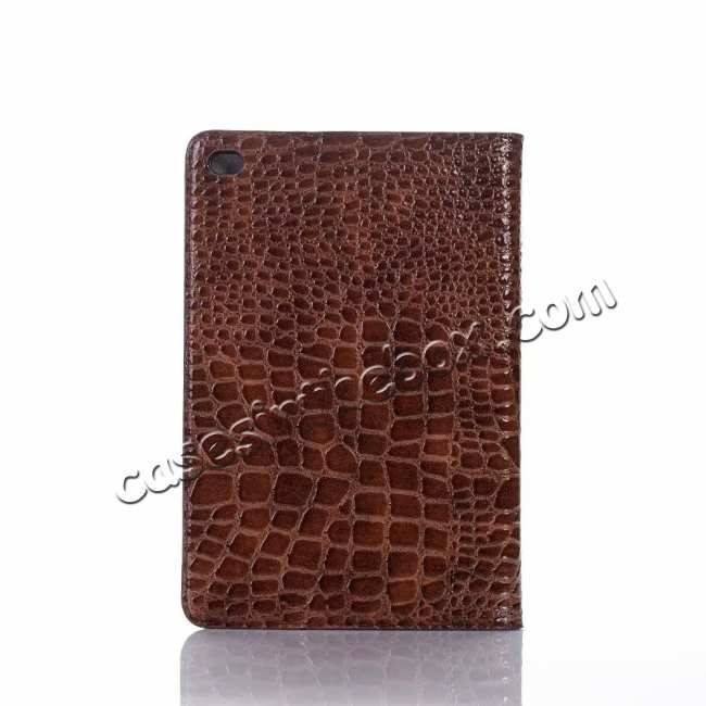 cheap Leather Case for iPad Mini 5 Crocodile Skin Smart Cover - Brown