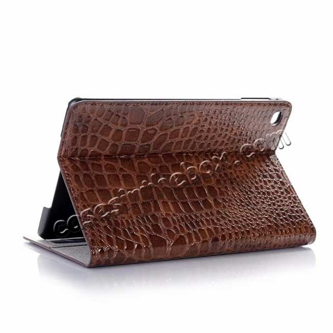 wholesale Leather Case for iPad Mini 5 Crocodile Skin Smart Cover - Brown