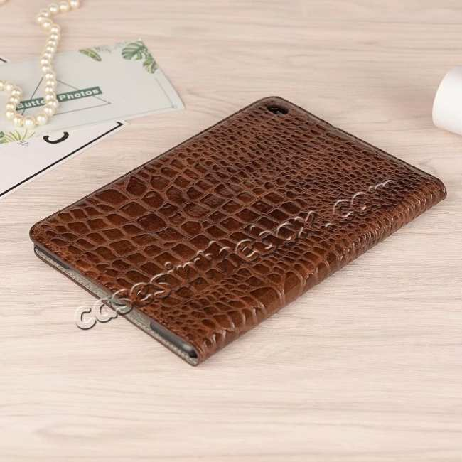 best price Leather Case for iPad Mini 5 Crocodile Skin Smart Cover - Brown