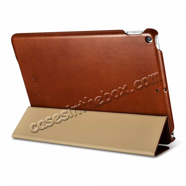 discount Case for iPad Air 10.5 2019 ICARER Vintage Series Genuine Leather - Brown
