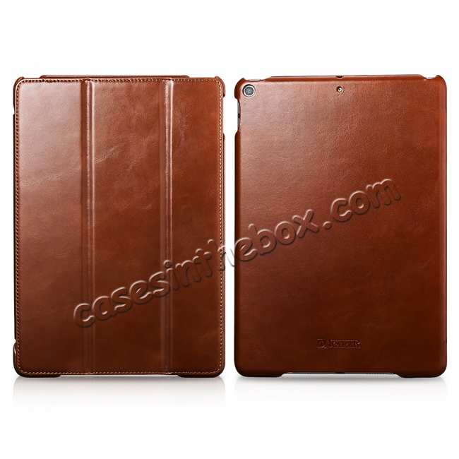 wholesale Case for iPad Air 10.5 2019 ICARER Vintage Series Genuine Leather - Brown