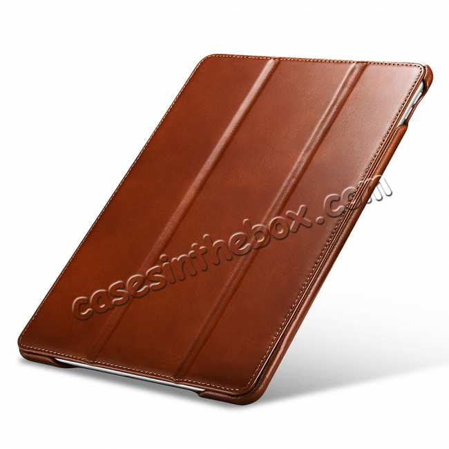 top quality Case for iPad Air 10.5 2019 ICARER Vintage Series Genuine Leather - Brown