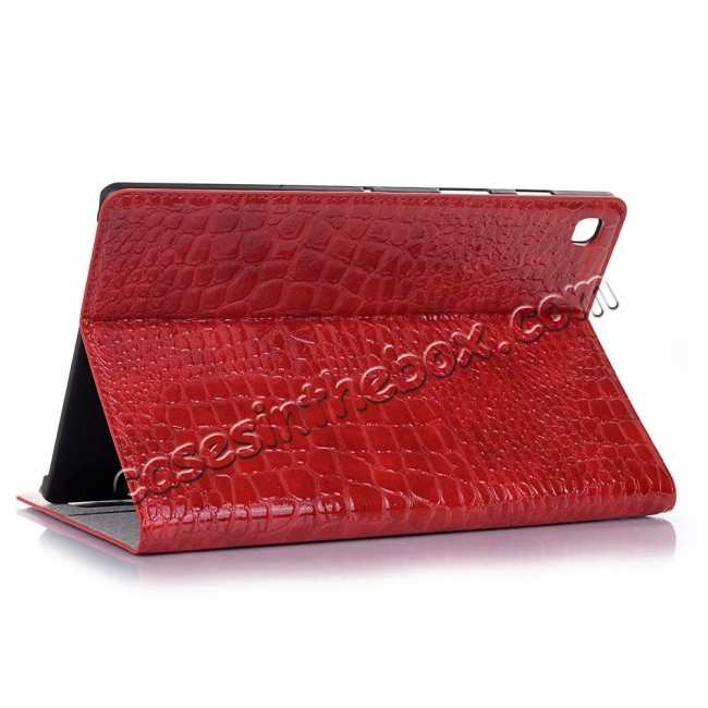 wholesale For Samsung Galaxy Tab S5e 10.5 T720 T725 Crocodile Skin Leather Case - Red
