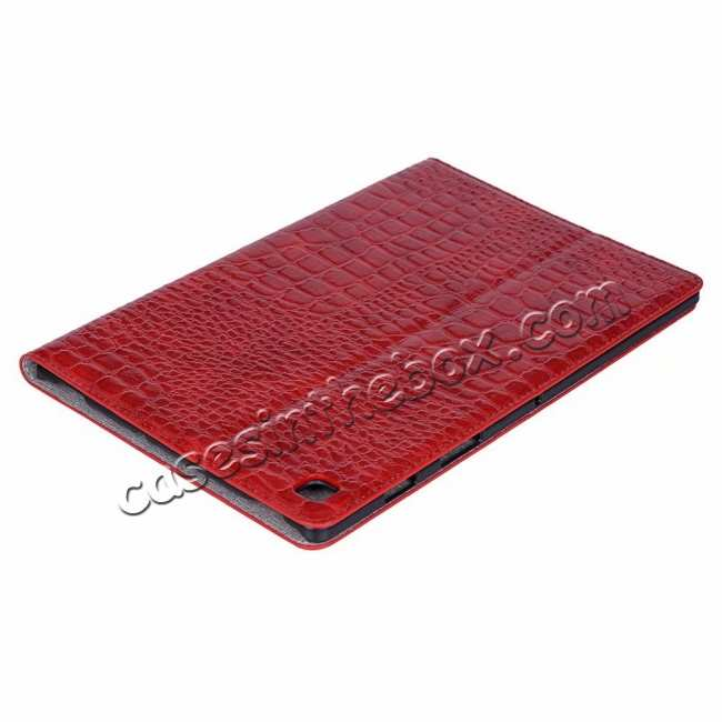 best price For Samsung Galaxy Tab S5e 10.5 T720 T725 Crocodile Skin Leather Case - Red