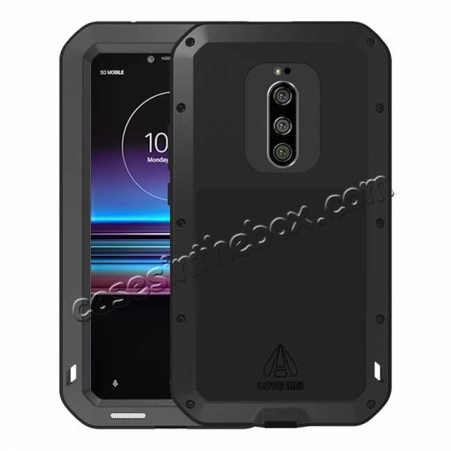 outlet store 79c48 e8c62 For Sony Xperia 1 Shockproof Waterproof Gorilla Glass Metal Rugged Case  Black