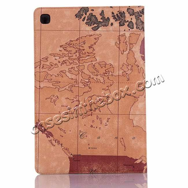 top quality World Map  Flip Leather Case For Samsung Galaxy Tab S5e 10.5 T720 T725 - Brown