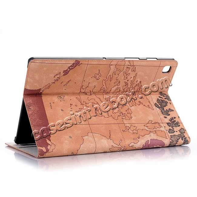 wholesale World Map  Flip Leather Case For Samsung Galaxy Tab S5e 10.5 T720 T725 - Brown