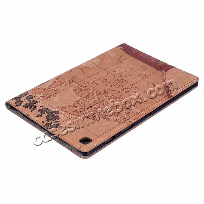 best price World Map  Flip Leather Case For Samsung Galaxy Tab S5e 10.5 T720 T725 - Brown
