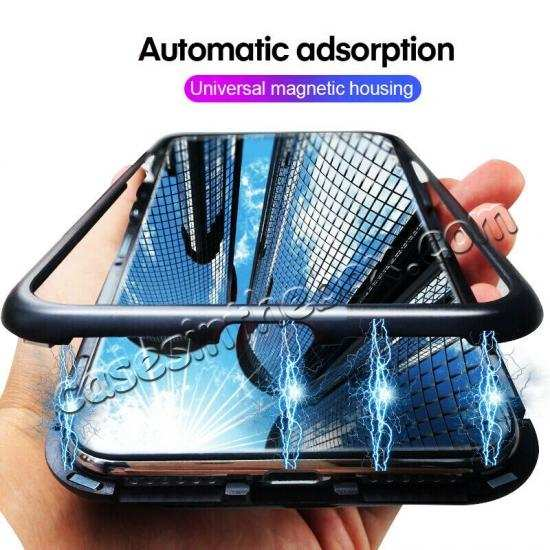 discount For OnePlus 7 Pro Magnetic Adsorption Metal Tempered Glass Back Case Cover
