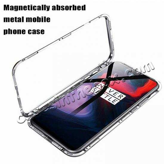top quality For OnePlus 7 Pro Magnetic Adsorption Metal Tempered Glass Back Case Cover