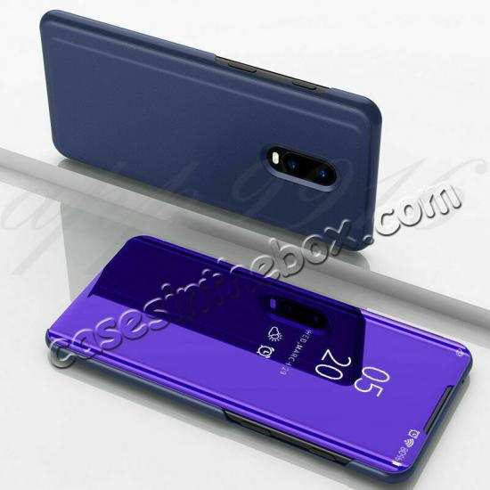 cheap For OnePlus 7 7T 8 Pro Phone Case Smart View Mirror Leather Stand Flip Cover