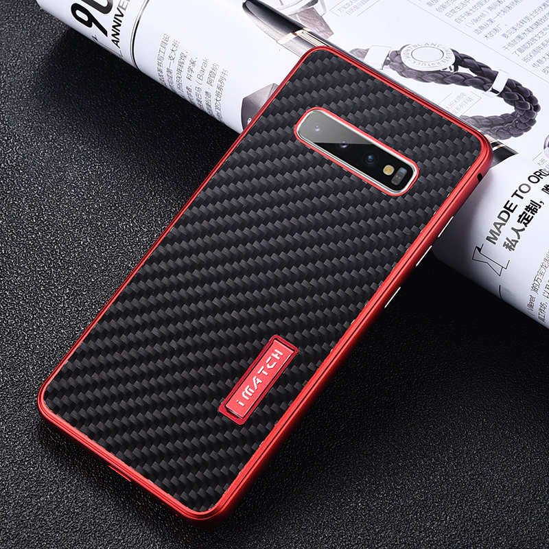 discount For Samsung Galaxy S10 Luxury Aluminum Metal Frame Carbon Fiber Cover Case - Black&Red