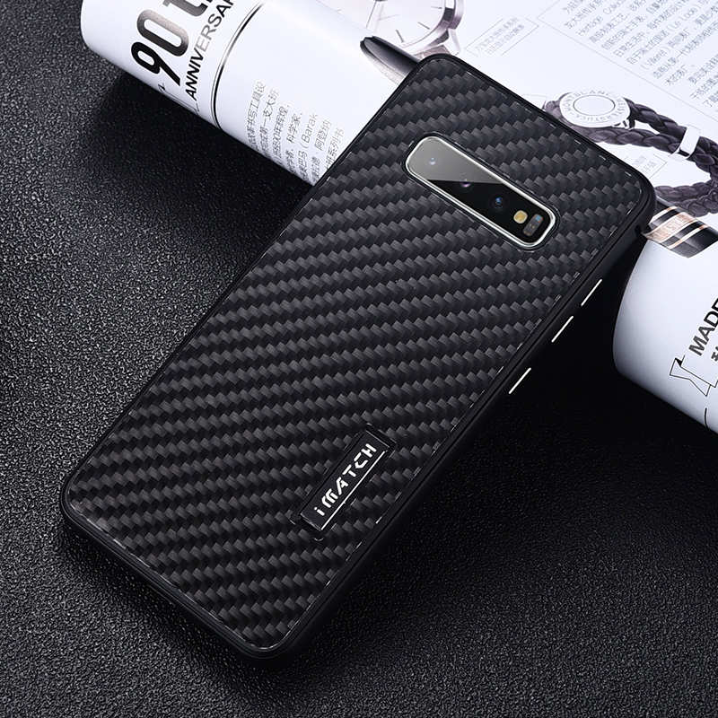 discount For Samsung Galaxy S10 Luxury Aluminum Metal Frame Carbon Fiber Cover Case - Black