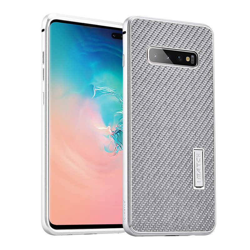 wholesale For Samsung Galaxy S10 Luxury Aluminum Metal Frame Carbon Fiber Cover Case - Silver