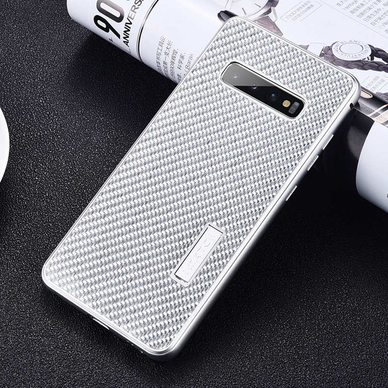 discount For Samsung Galaxy S10 Luxury Aluminum Metal Frame Carbon Fiber Cover Case - Silver