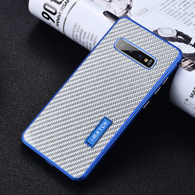 discount For Samsung Galaxy S10 Luxury Aluminum Metal Frame Carbon Fiber Cover Case - Silver&Blue