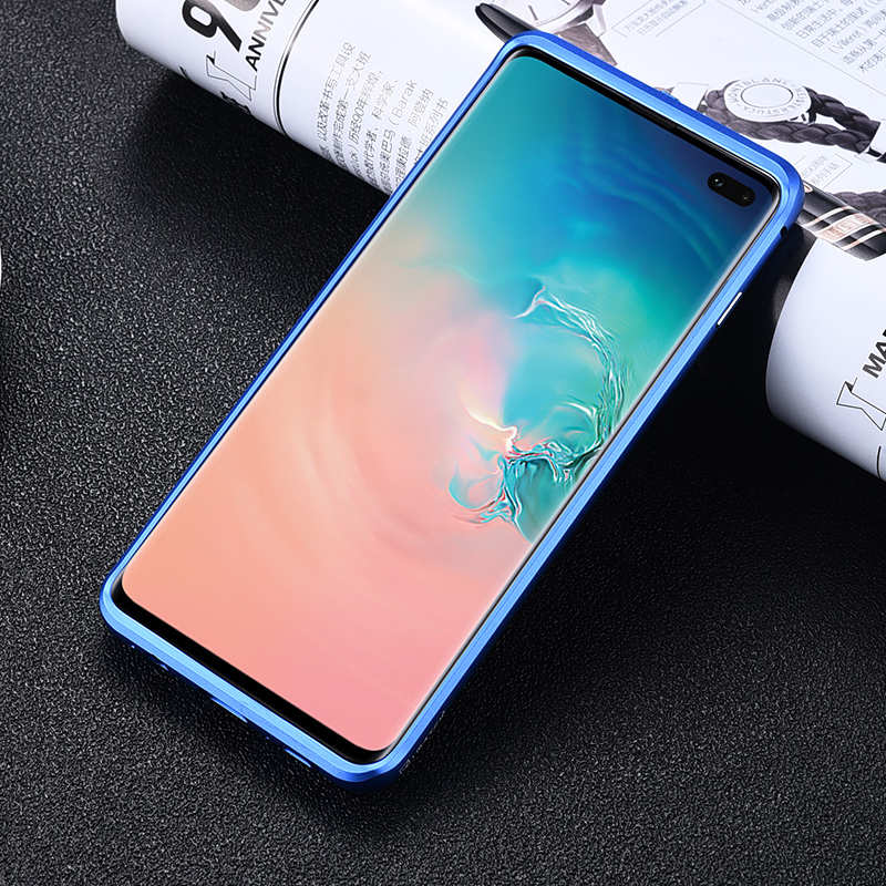 cheap For Samsung Galaxy S10 Luxury Aluminum Metal Frame Carbon Fiber Cover Case - Silver&Blue