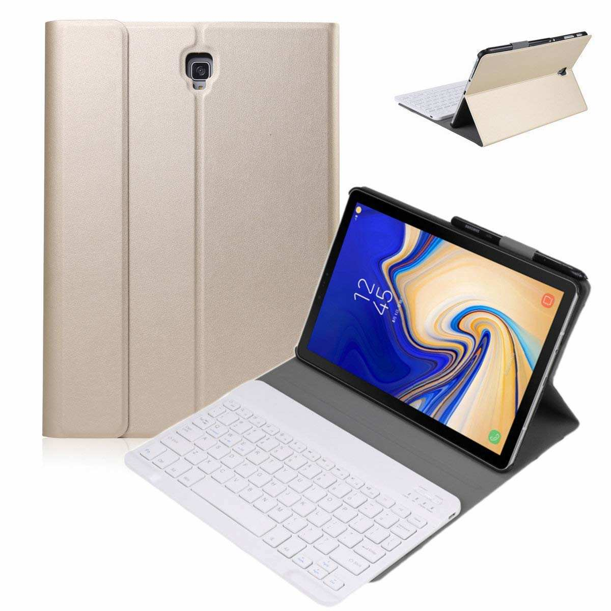 wholesale For Samsung Galaxy Tab S5e 10.5 SM-T720/T725 Detachable Bluetooth Keyboard Leather Case - Gold