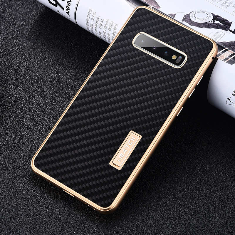 discount Shockproof Case for Samsung Galaxy S10 Plus Aluminum Metal Carbon Stand Cover - Black&Gold