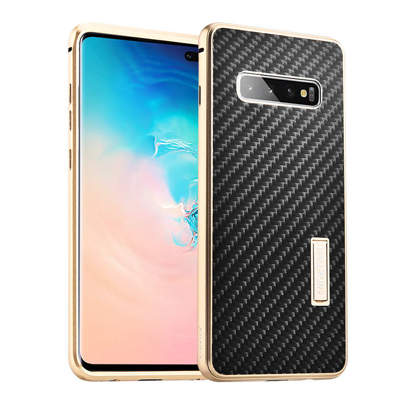 wholesale Shockproof Case for Samsung Galaxy S10 Plus Aluminum Metal Carbon Stand Cover - Black&Gold