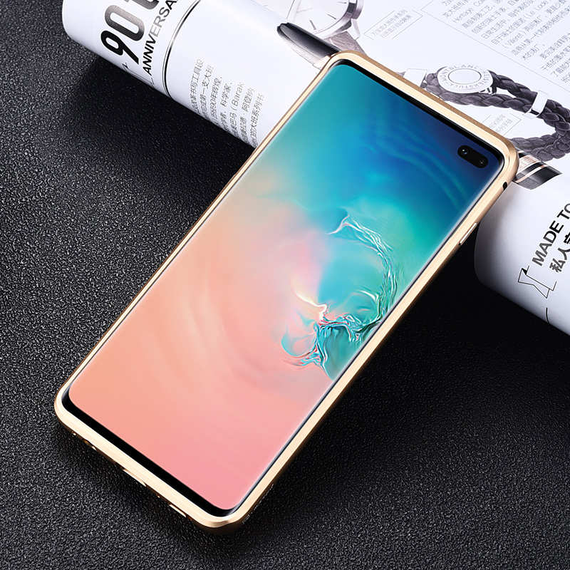 cheap Shockproof Case for Samsung Galaxy S10 Plus Aluminum Metal Carbon Stand Cover - Black&Gold