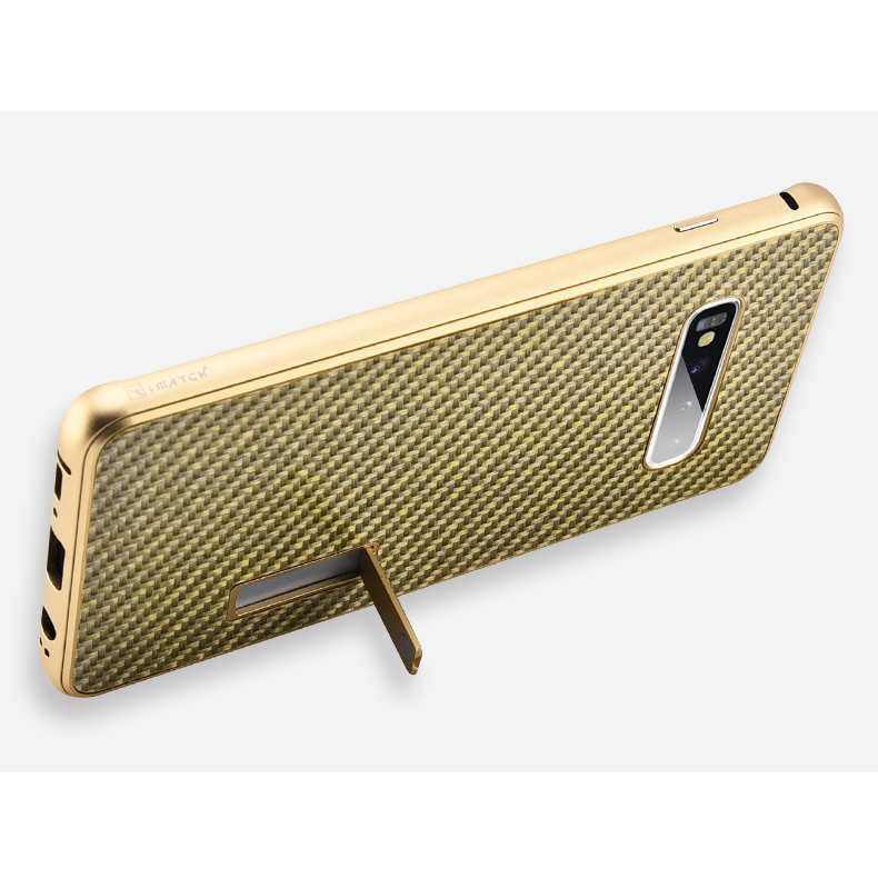 top quality Shockproof Case for Samsung Galaxy S10 Plus Aluminum Metal Carbon Stand Cover - Black&Gold