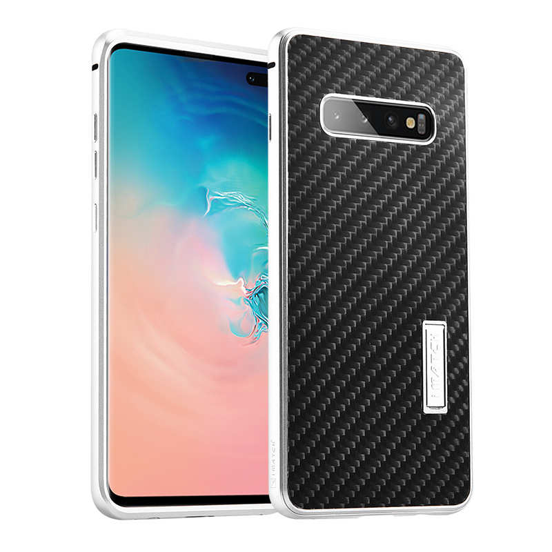 wholesale Shockproof Case for Samsung Galaxy S10 Plus Aluminum Metal Carbon Stand Cover - Black&Silver