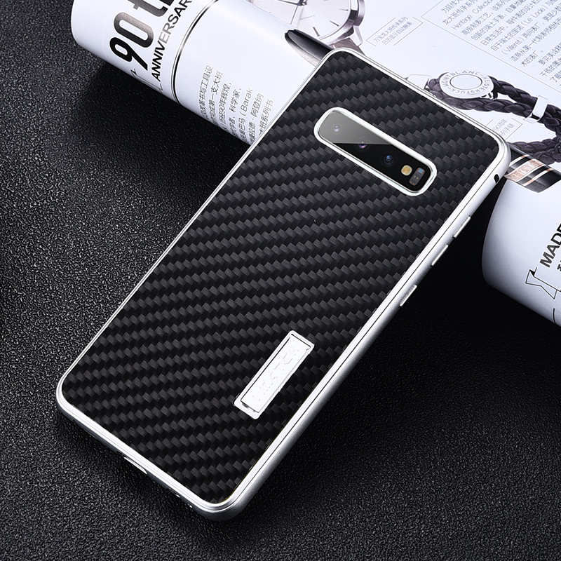 discount Shockproof Case for Samsung Galaxy S10 Plus Aluminum Metal Carbon Stand Cover - Black&Silver
