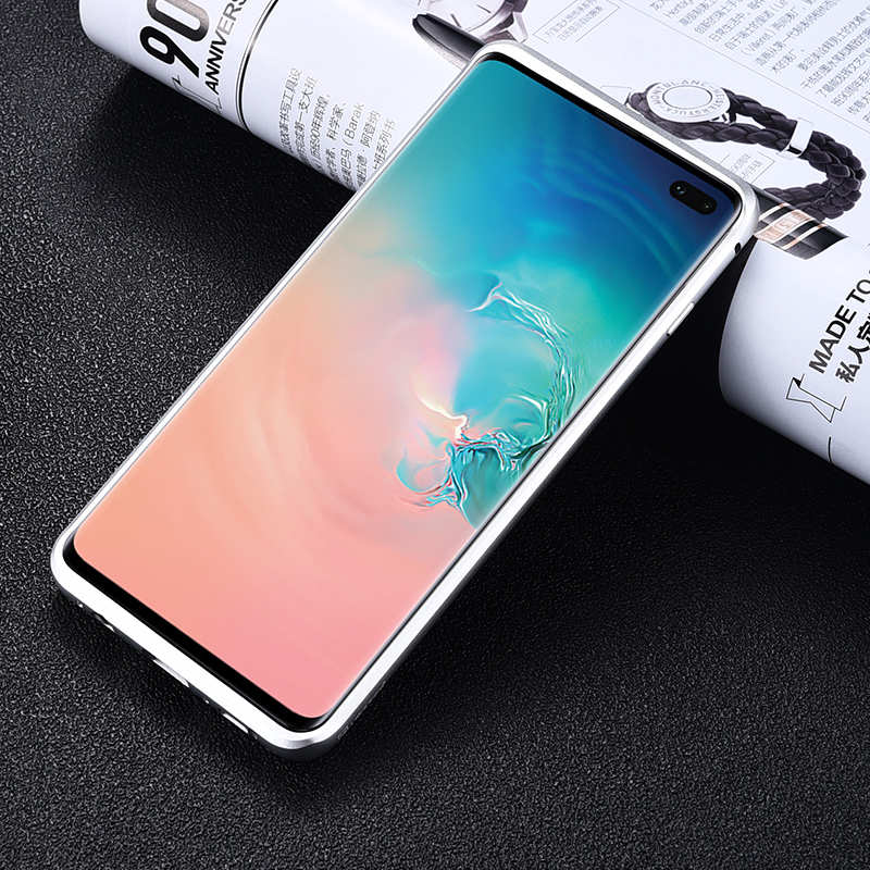 cheap Shockproof Case for Samsung Galaxy S10 Plus Aluminum Metal Carbon Stand Cover - Black&Silver