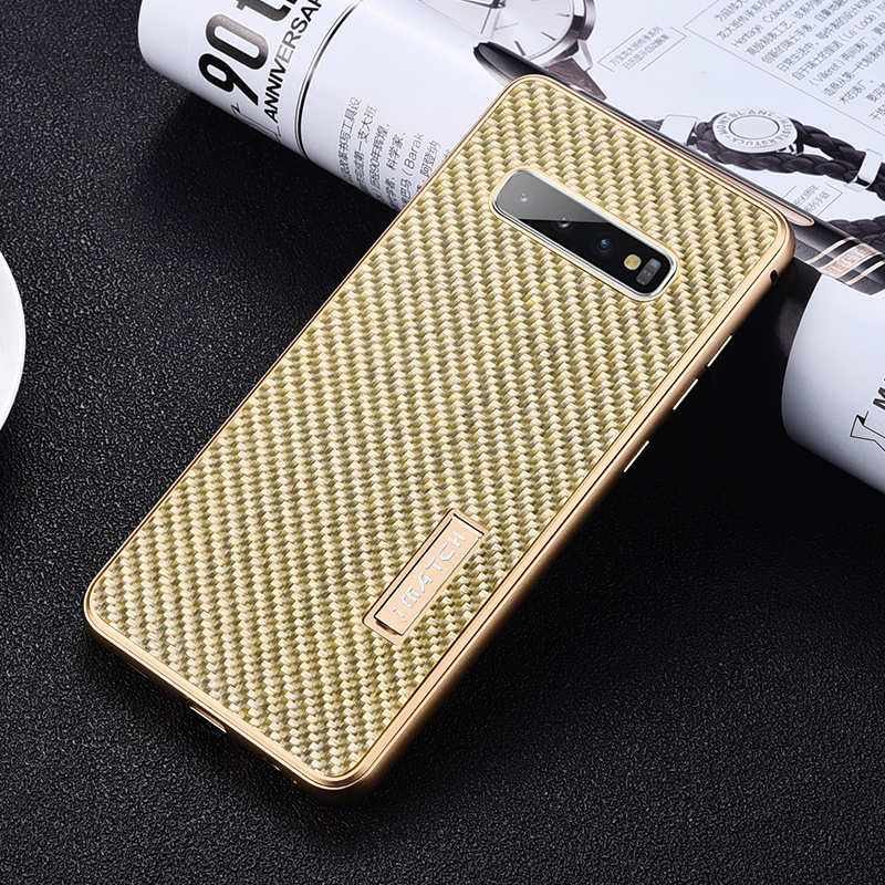 discount Shockproof Case for Samsung Galaxy S10 Plus Aluminum Metal Carbon Stand Cover - Gold