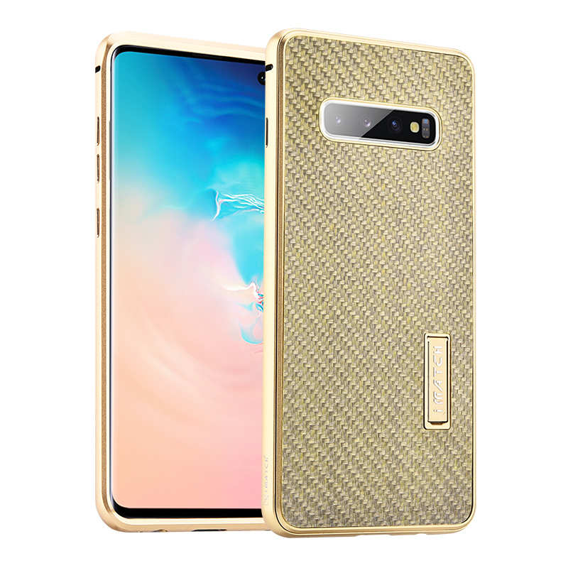 wholesale Shockproof Case for Samsung Galaxy S10 Plus Aluminum Metal Carbon Stand Cover - Gold