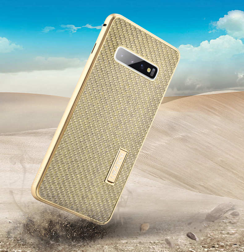best price Shockproof Case for Samsung Galaxy S10 Plus Aluminum Metal Carbon Stand Cover - Gold