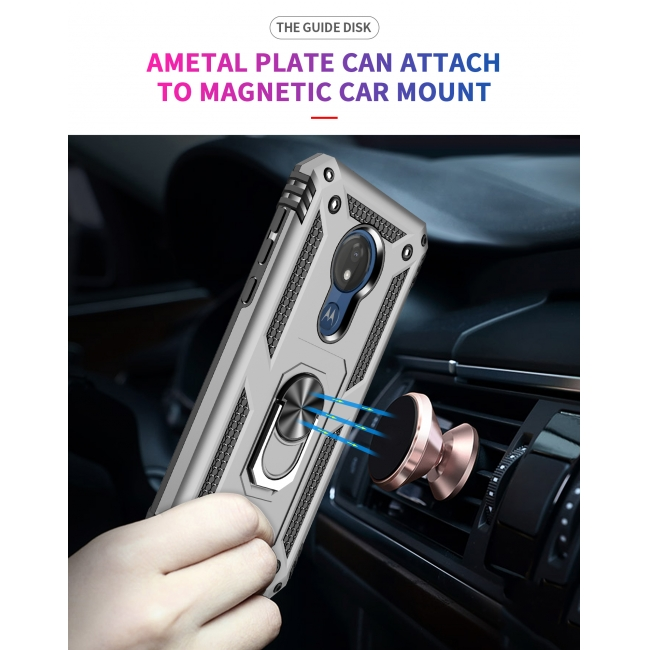 top quality For Motorola Moto G7 Power Case Ring Holder Magnetic Stand Phone Cover - Rose Gold