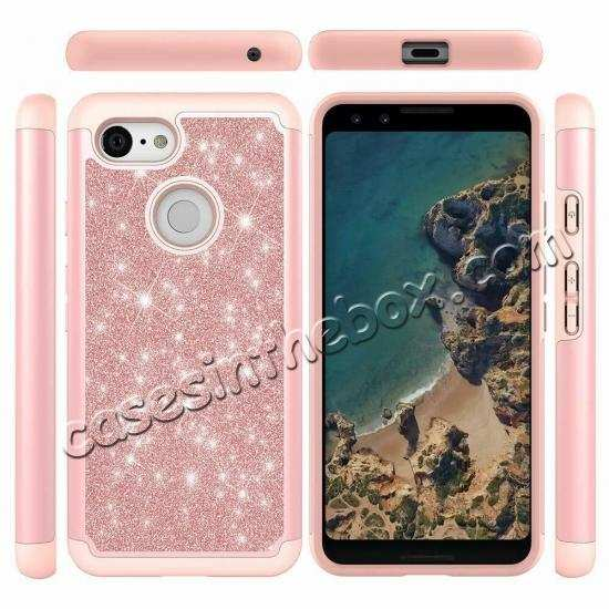 discount For Google Pixel 3a Case Glitter Bling Defender Hybrid Armor Shockproof Cover