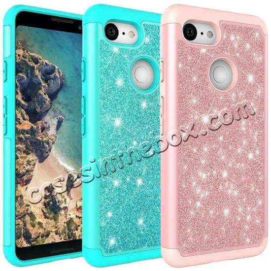 wholesale For Google Pixel 3a Case Glitter Bling Defender Hybrid Armor Shockproof Cover