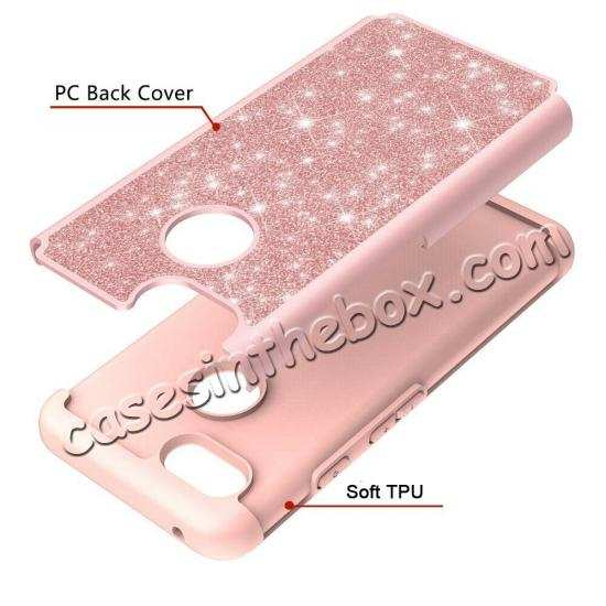 cheap For Google Pixel 3a Case Glitter Bling Defender Hybrid Armor Shockproof Cover