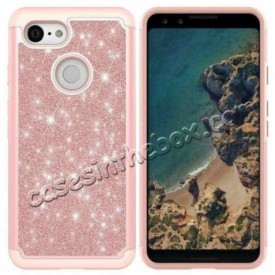 discount For Google Pixel 3a XL Case Glitter Bling Hybrid Armor Shockproof Cover