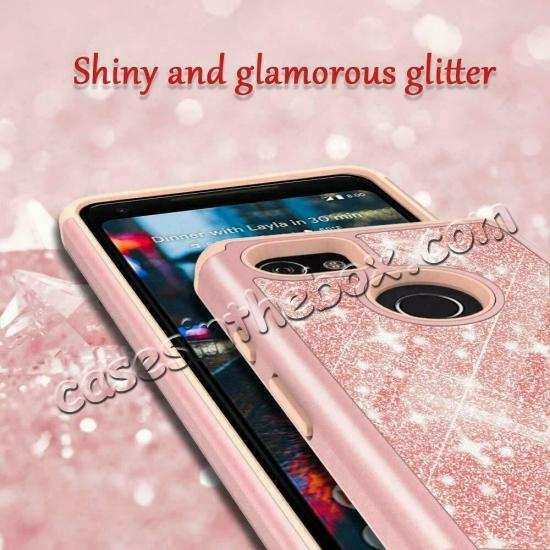 cheap For Google Pixel 3a XL Case Glitter Bling Hybrid Armor Shockproof Cover