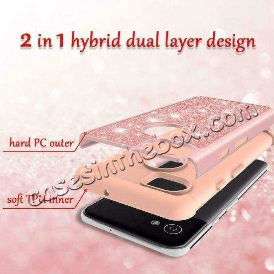 best price For Google Pixel 3a XL Case Glitter Bling Hybrid Armor Shockproof Cover
