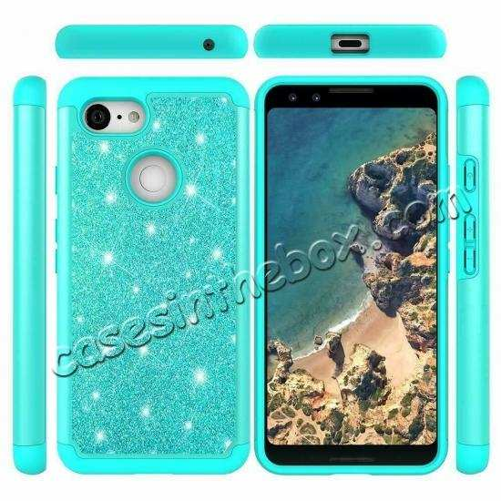wholesale For Google Pixel 3a XL Case Glitter Bling Hybrid Armor Shockproof Cover