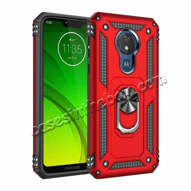 wholesale For Motorola Moto G7 Supra Case Ring Holder Magnetic Stand Phone Cover