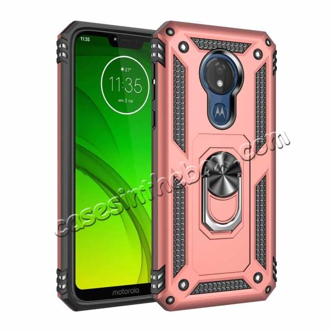 wholesale For Motorola Moto G7 Supra Case Ring Holder Magnetic Stand Phone Cover - Rose Gold