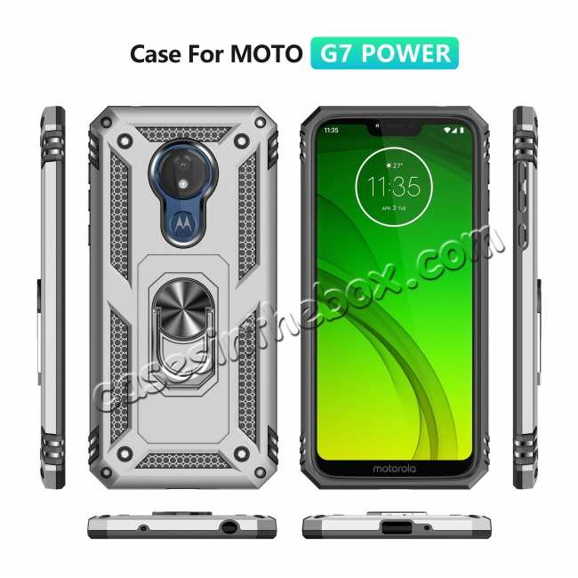 discount For Motorola Moto G7 Supra Case Ring Holder Magnetic Stand Phone Cover - Silver