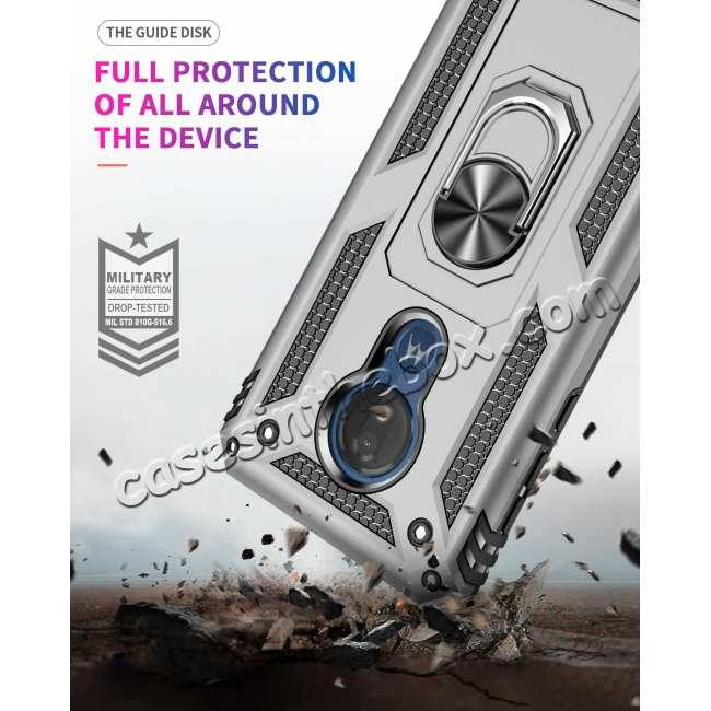 top quality For Motorola Moto G7 Supra Case Ring Holder Magnetic Stand Phone Cover - Silver