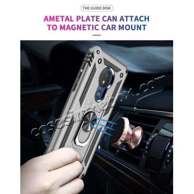 best price For Motorola Moto G7 Supra Case Ring Holder Magnetic Stand Phone Cover - Silver