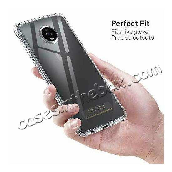 cheap For Motorola Moto Z4 Shockproof Crystal Clear Slim Soft Rubber Cover