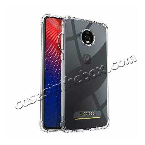 best price For Motorola Moto Z4 Shockproof Crystal Clear Slim Soft Rubber Cover