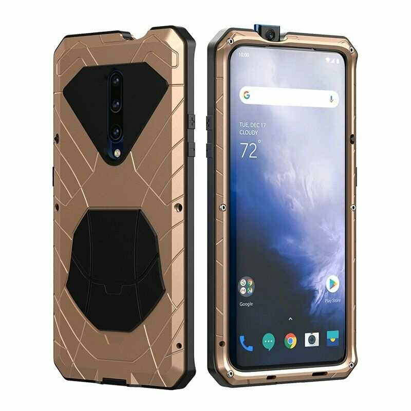 discount For OnePlus 7 Pro Case Metal Aluminum Heavy Duty Shockproof Cover Gold