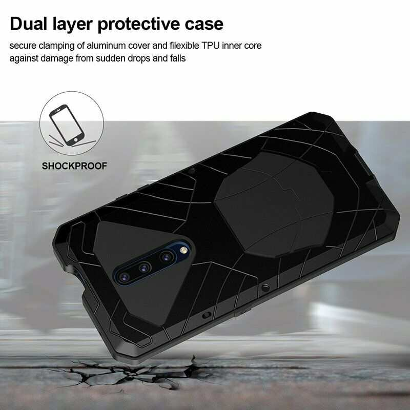 best price For OnePlus 7 Pro Case Metal+Silicone Stand Metal Bumper Back Cover Black