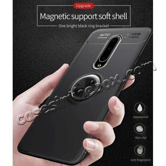 top quality For OnePlus 7 Pro Case Shockproof TPU Magnetic Ring Holder Stand Cover